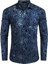 COOFANDY Men's Floral Button Down Shirt Long Sleeve Slim Fit Casual Paisley Dress Shirt