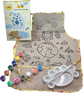 Kids Crafts DIY Kids Apron Coloring Kit - Arts And Crafts For Kids And Toddlers - Kids Art Smock With Pockets - Cute Play Kitchen Dress Up Clothes For Little Girls And Boys (Astronaut)