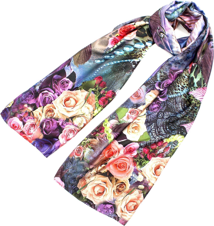 Leisureland Women's Silk Mixed Vintage Floral pink Design Fashion Scarf