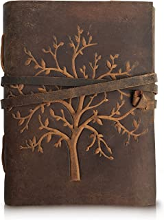 Leather Journal Tree of Life - Writing Notebook Handmade Leather Bound Daily Notepads for Men and Women Blank Paper 7 x 5 Inches - Ideal Gift for Art Sketchbook, Travel Diary and Journals to Write in