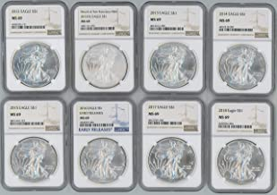 2012 2012(S), 2013, 2014, 2015, 2016, 2017, 2018 Silver Eagle NGC MS69 8-Coin Set
