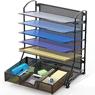 SimpleHouseware 6 Trays Desk Document File Tray Organizer with Supplies Sliding Drawer, Black