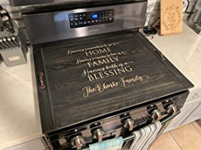 Farmhouse Rustic Wooden Noodle Board Stove top Cover Personalized Last Name Home Decor