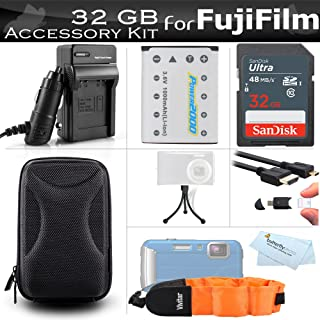 32GB Accessories Kit for Fujifilm FinePix XP70, XP80, XP90, XP120 Waterproof Digital Camera Includes 32GB High Speed SD Memory Card + Replacement NP-45A, NP-45s Battery + Charger + HDMI Cable + Case