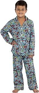 Teen Titans Go! Boys Flannel Pajamas Coat Style Button Down 2 Piece Set