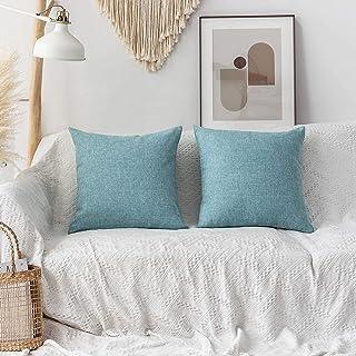 أغطية وسائد مزخرفة منزلية رائعة أغطية مبطنة من الكتان للأريكة السرير، مجموعة من 2، 18 × 18 بوصة (45 سم)، أزرق مخضر