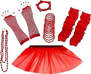 A-Express 80er Damen Neon Tütü Rock Ebene Beinstulpen Handschuhe Halskette Tüll Fluo Ballett Verkleidung Party Tutu Rock Kostüm Set (36-44, Rot)