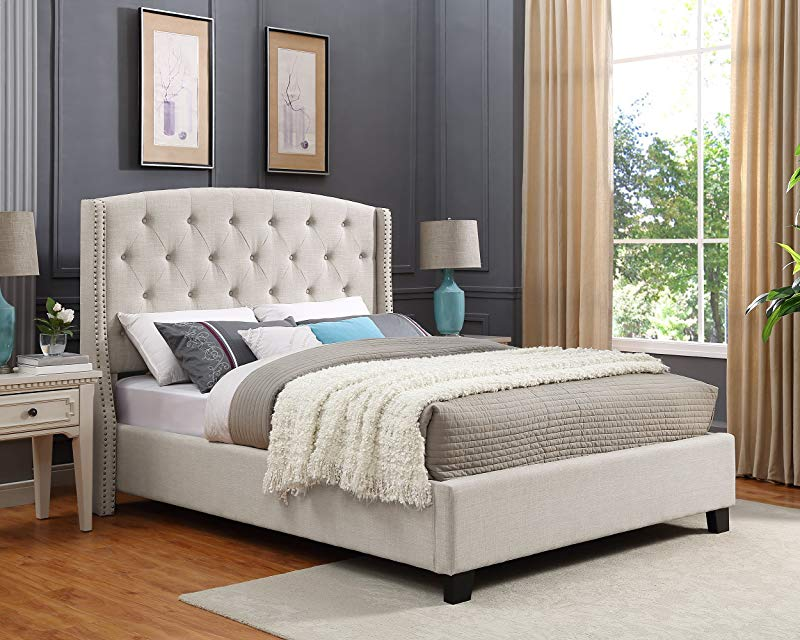 Roundhill Furniture B002Q Nantarre Fabric Tufted Wingback Upholstered Bed With Nailhead Trim Queen Tan