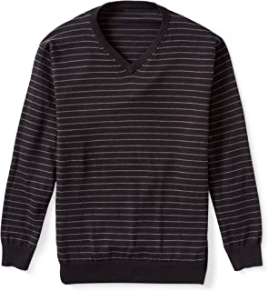 Amazon Essentials Men's V-Neck Stripe Sweater fit by DXL