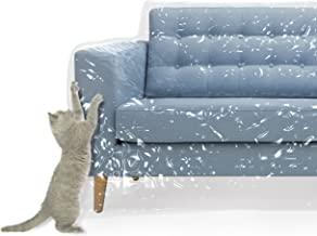 Plastic Couch Cover Pets | Cat Scratching Protector Clawing Deterrent | Heavy Duty Water Resistant Thick Clear Vinyl | Sofa Slipover Moving Long Term Storage