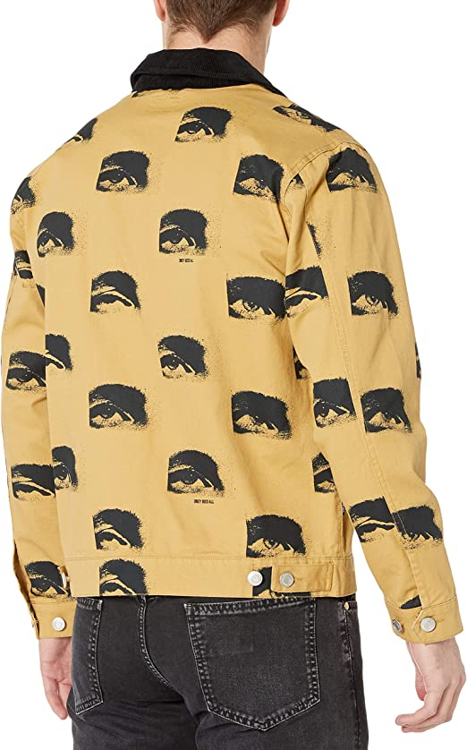 Herringbone Work Jacket with Contrast Cow Print Collar Obey Mens Boxy fit