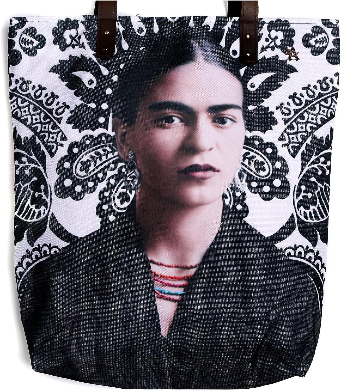Akitai Young Frida Kahlo Portrait Black & White Canvas Purse  Shoulder Tote Bag  Women Handbag