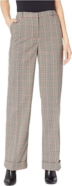 Country Check Wide Leg Cuffed Pants