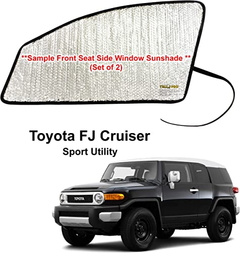 discount Side Window Front Seat sale Reflective Sunshade Custom Fit wholesale for 2007 2008 2009 2010 2011 2012 2013 2014 Toyota FJ Cruiser Sport Utility (Set of 2) outlet online sale
