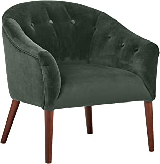 Rivet Curved Tufted Velvet Accent Chair, Marina Mid-Century, 28.7