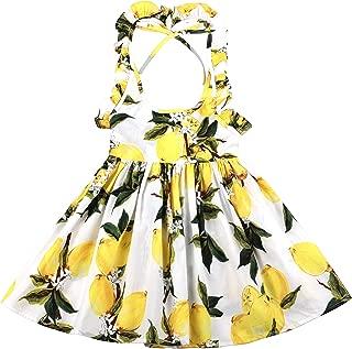 Summer Lemon Girls Dress Casual Cotton Toddler Sundress Easter Baby Clothes