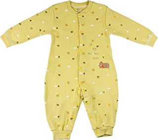 Infant Newborn Baby Girls Long Sleeves Animals& Slogan Printed Romper Clothes Outfits, 3-6M, Yellow
