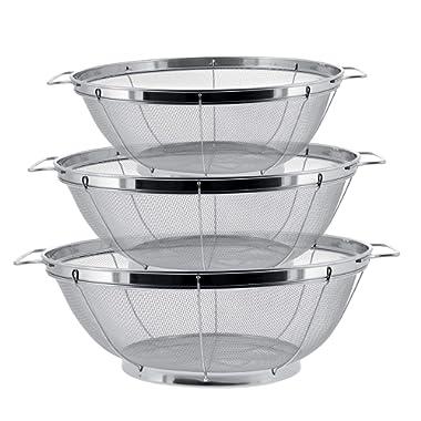 U.S. Kitchen Supply - 3 Piece Colander Set - Stainless Steel Mesh Strainer Net Baskets with Handles & Resting Base - 11  5 Quart, 9.5  4 Quart and 8.5  3 Quart - Strain, Drain, Rinse, Steam or Cook