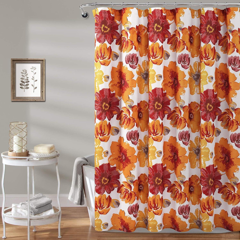 Max 53% OFF Lush Decor Red Orange Large-scale sale Leah Flower Flora Shower Curtain-Bathroom