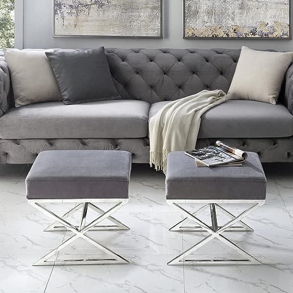 Inspired Home Aurora Grey Velvet Upholstered Ottoman Stainless Steel Chrome X Legs Bedroom 1 Pc ONLY
