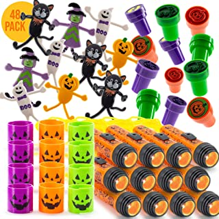FAVONIR Halloween Party Favor Supplies Stuffers 48 PCs Goody Bag Assortment, Flash Lights Self-Ink Stampers, Bendable Characters, Magic Springs. Kids Trick Treat Toys. Reward Prizes, Carnival Events