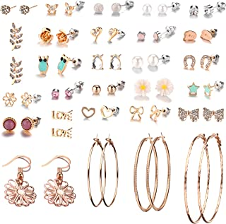 29 Pairs Assorted Multiple Stud Earrings set for Women Girls Simple Hoop earring set
