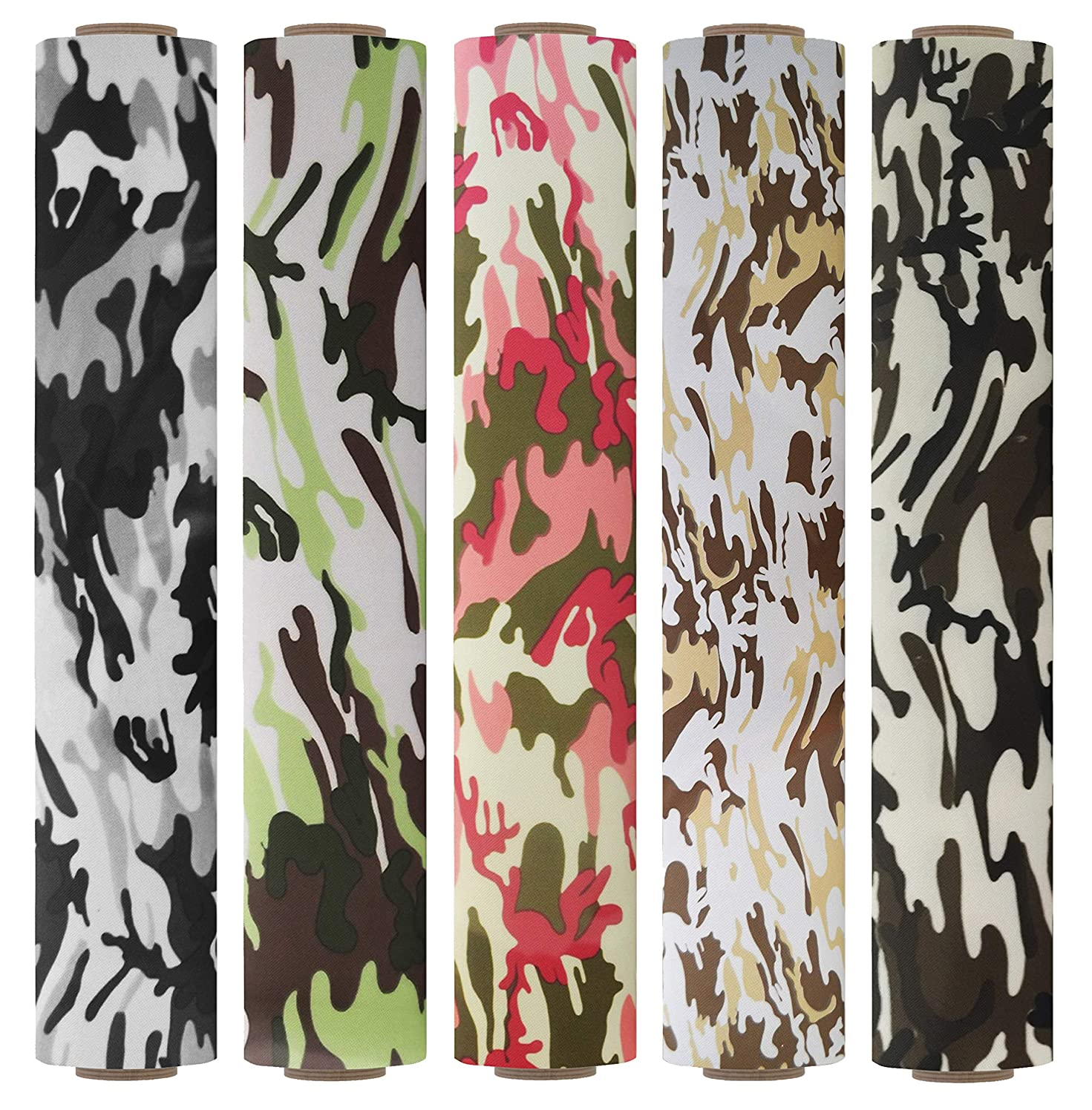 Firefly Craft Patterned Heat Transfer Vinyl for Silhouette and Cricut, 12 Inch by 19.5 Inch, 5 Pack Camouflage