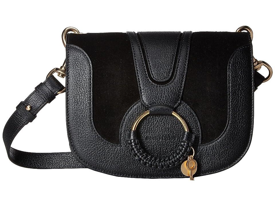 See by Chloe Hana Small Suede Leather Crossbody (Black) Cross Body Handbags
