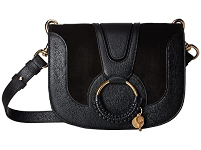 See by Chloe Hana Small Suede Leather Crossbody (Black) Cross Body Handbags
