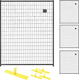 Crowd Control Temporary Fence Panel Kit - Perimeter Patrol Portable Security Fence - Safety Barrier for protecting property, construction sites, outdoor events. 5'W x 6'H BlackChain Link- 4 Panel Kit