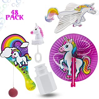 Favonir Unicorn Party Favor 48 Toys And Novelty Assortment – Colorful Paddle Balls - Folding Paper Fans - Bubble Bottles - Gliders Planes - Kids Birthday Party Supplies Bulk Set - Ideal As Party Favor, Reward Prizes, carnival And Events