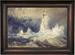 Historic Art Gallery Bell Rock Lighthouse 1819 by Joseph Turner Framed Canvas Print, Size 12x18, Gold