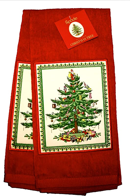 Spode Christmas Tree Kitchen Hand Towel Red 100 Cotton Set Of 2