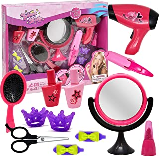 Pretend Play Beauty Set, Stylist Salon Playset Kit for Kids Toy Accessories Includes Hair Dryer, Makeup Mirror, Flat Iron, Lipstick, Scissors, Hair Brush, Nail Polish and Hair Clips