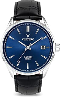 Vincero Luxury Men's Kairos Wrist Watch - Top Grain Italian Leather Watch Band - 42mm Analog Watch - Japanese Quartz Movement