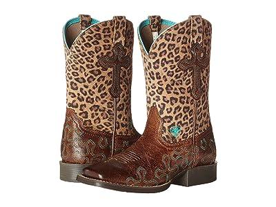 Ariat Kids Crossroads (Toddler/Little Kid/Big Kid) (Wood/Leopard) Cowboy Boots