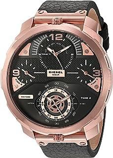 Diesel Men'S Black Dial Leather Band Watch Dz7380, Quartz, Analog