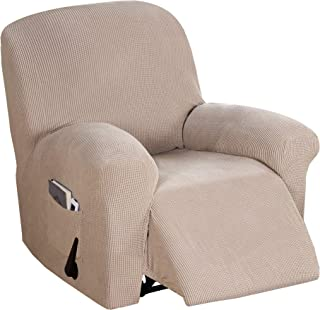 Fitted 1 Piece Recliner Slipcover High Stretch Soft Sofa Cover, Luxurious Recliner Chair Slip Cover, Spandex Recliners Furniture Protector Machine Washable (Recliner, Sand)