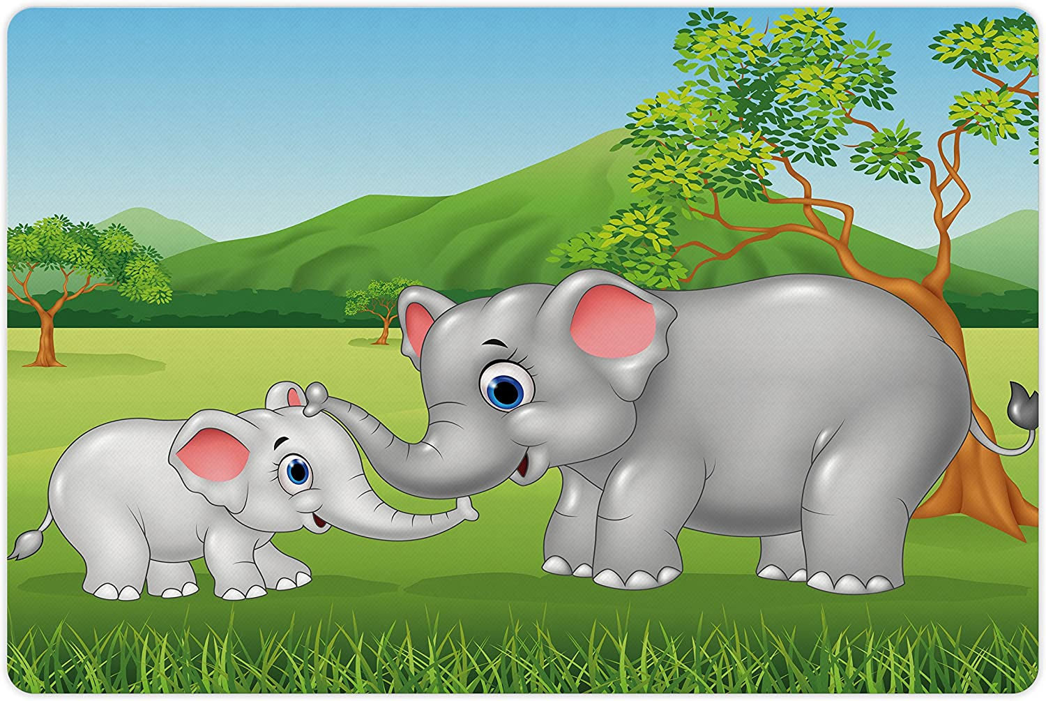 Lunarable Elephant 2021 spring and summer new Pet Mat for Food Mot and Cartoon Water Ranking TOP17 Theme