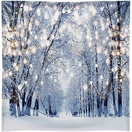 Leyiyi 8x8ft Photography Backdrop Merry Christmas Background Snowing Forest Frost Fir Trees Happy New Year Vintage Gingerbread Reindeer Wood Table Photo Portrait Vinyl Video Studio Prop