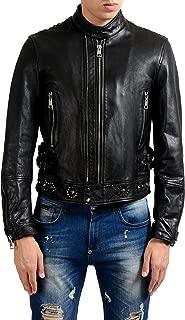 Just Cavalli Men's 100% Leather Black Embellished Full Zip Jacket US S IT 48