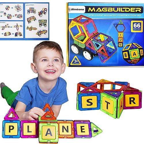 Simbans MagBuilder 66 Pcs Blocs Construction Magnétiques Jouet | STEM Apprentissage pour Garçons, Filles 3, 4, 5+ Ans | Créatif Ingénierie Construction Educatif Kit - Meilleur Cadeau pour Enfants