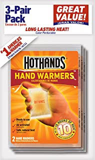 HotHands Hand Warmers - Long Lasting Safe Natural Odorless Air Activated Warmers - Up to 10 Hours of Heat - 3 Pair