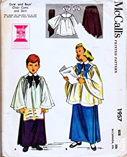 McCall's 1957 Child's Girl's and Boys Choir Cotta, Robe and Skirt Vintage Sewing Pattern 1955