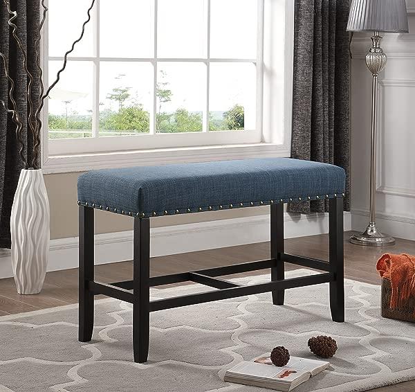 Roundhill 家具 PB162BU Biony 织物柜台高度餐厅长凳带钉头装饰蓝色