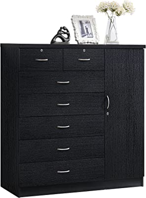 Hodedah 7 Drawer Jumbo Chest, Five Large Drawers, Two Smaller Drawers with Two Lock, Hanging Rod, and Three Shelves | Black