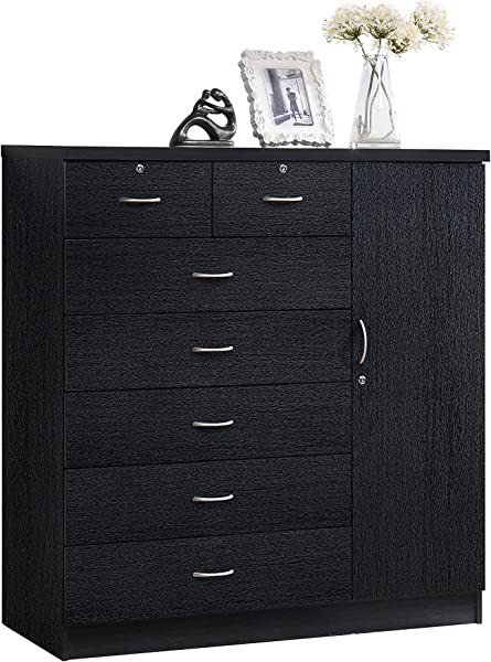 Hodedah 7 Drawer Jumbo Chest Five Large Drawers Two Smaller Drawers With Two Lock Hanging Rod And Three Shelves Black