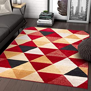 Well Woven Isometry Red & Beige Modern Geometric Triangle Pattern Area Rug Soft Shed Free 5 x 7 (5' x 7') Easy to Clean Stain Resistant