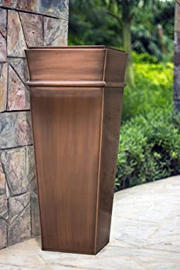 H Potter Tall Planter Outdoor Large Copper Flower Pots Indoor Outside Patio Deck Garden