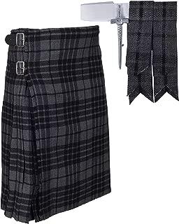 Traditional Gray Tartan Plaid Kilt FREE Flashes & Kilt Pin
